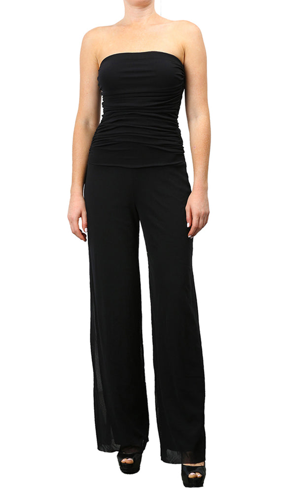 MAXIMA Strapless Ruched Bodice Jumpsuit Black