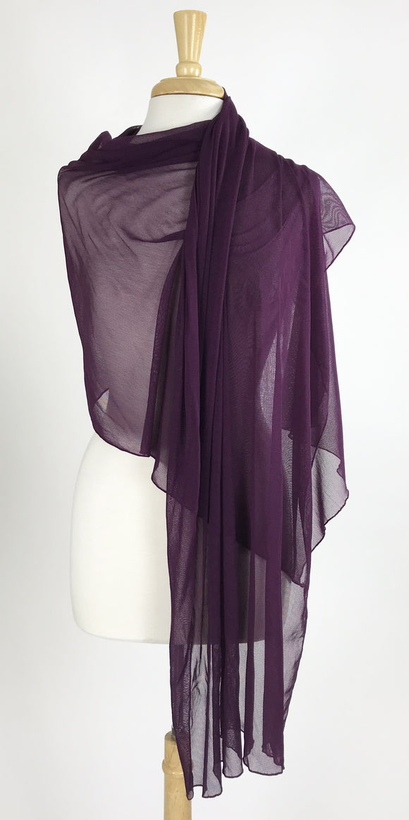 MAXIMA Long And Wide Sheer Shawl Stole Wrap Cover Plum