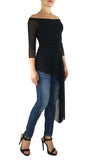 MAXIMA OFF SHOULDER SHEER SLEEVE SIDE OVERLAY TUNIC TOP BLACK
