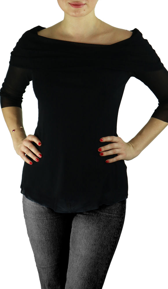 MAXIMA Draped Neckline Top Black
