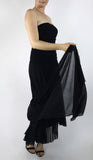 MAXIMA Strapless Ruched Bodice Tea Length Dress Black