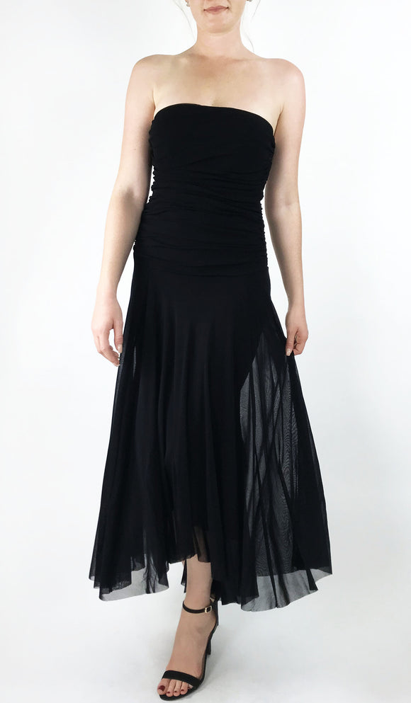 MAXIMA Strapless Tea Length Hi Low Hem Dress Black