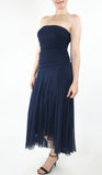 MAXIMA Strapless Tea Length Hi Low Hem Dress Navy Blue