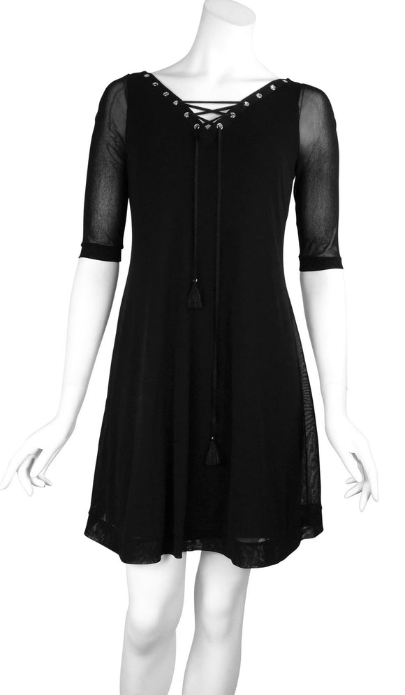 MAXIMA Grommets and Ribbon 3/4 Sleeves Black A-Line Trapeze Dress