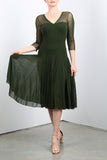MAXIMA Olive Mesh Paneled Fit N Flare Trapeze Dress
