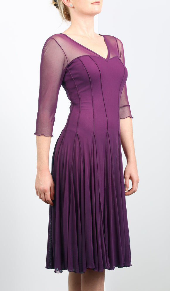 MAXIMA Plum Mesh Paneled Fit and Flare Trapeze Dress