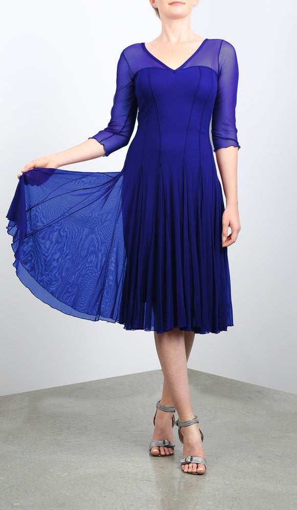 MAXIMA  Fit and Flare 3/4 Sleeves Paneled Dress Royal Blue