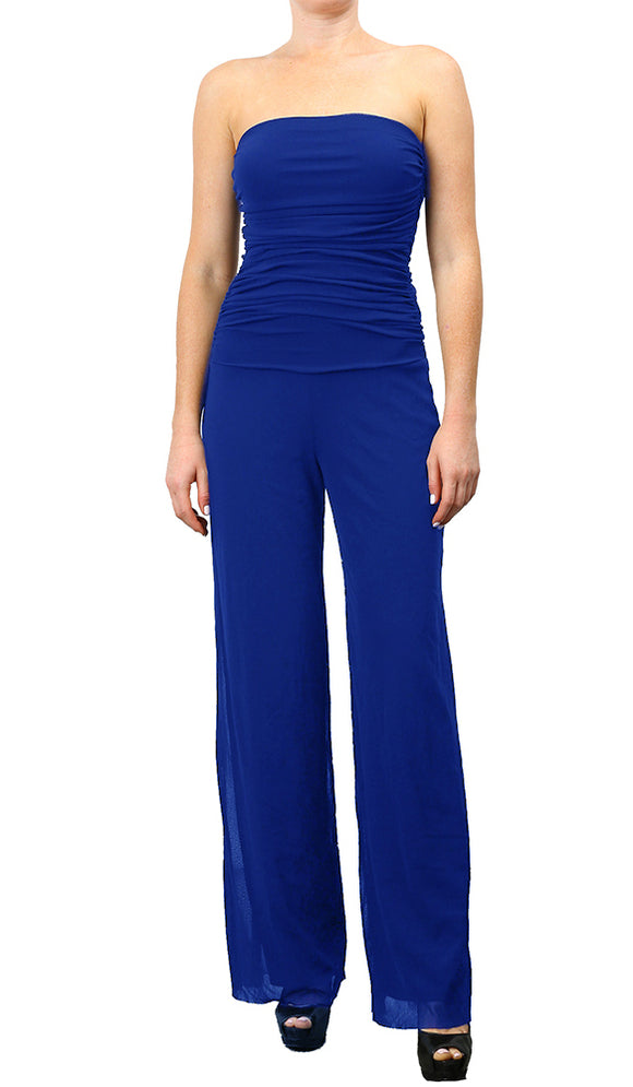 MAXIMA Strapless Ruched Bodice Jumpsuit Royal Blue