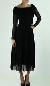 MAXIMA Off Shoulder Mid Calf Flared Dress Black