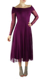 MAXIMA Off Shoulder Mid Calf Flared Dress Plum