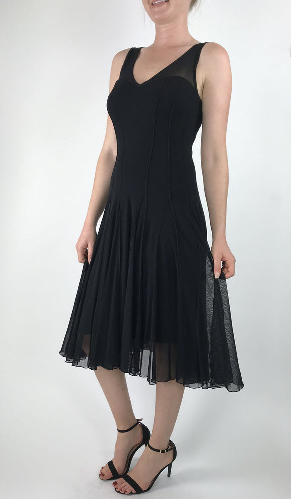 MAXIMA Sleeveless Mesh Paneled Fit N Flare Dress Black
