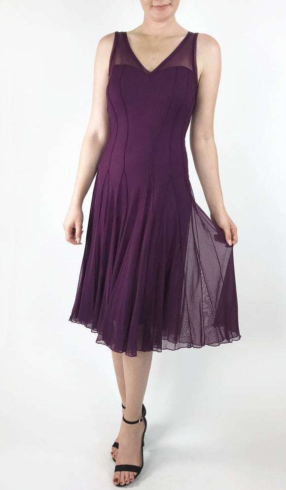 MAXIMA Sleeveless Mesh Paneled Fit and Flare Dress Plum