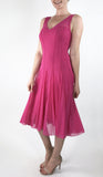 MAXIMA Sleeveless Mesh Paneled Fit N Flare Dress Hot Pink