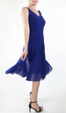 MAXIMA Sleeveless Mesh Paneled Fit and Flare Dress Royal Blue