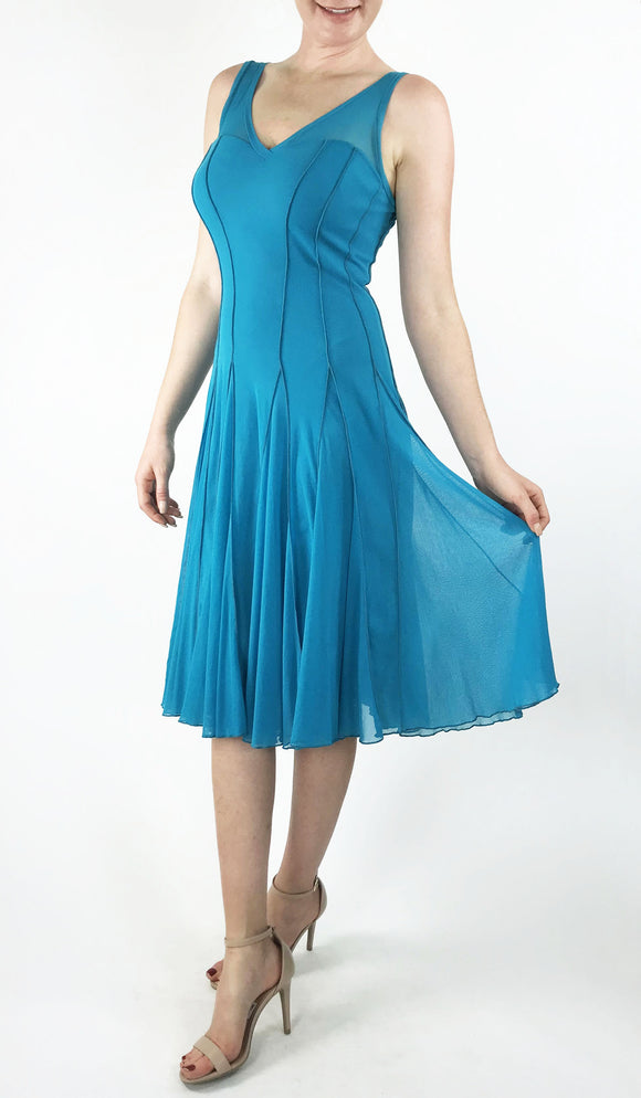 MAXIMA  Sleeveless Mesh Paneled Fit and Flare Dress Turquoise