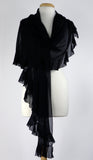 MAXIMA Ruffled Long & Wide Sheer Shawl Black