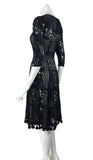 MURIEL Black Fit and Flare 3/4 Sleeves Crochet Lace Dress with Fringes