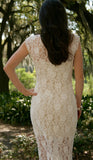 MADELINE Knee Length Fitted Sleeveless Lace Ivory Bridal Dress