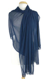 MAXIMA Long And Wide Sheer Shawl Stole Wrap Cover Navy