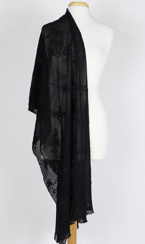 NANCY Long and Wide Embroidered Netting Shawl Black