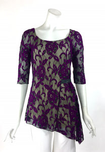 NURIELLE Asymmetrical Hem Lace 3/4 Sleeves Tunic Top Magenta