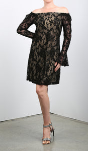 NURIELLE Bell Sleeves Dress Black