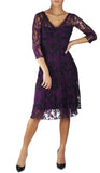 NURIEL Fit and Flare 3/4 Sleeves Paneled Embroidered Dress Magenta
