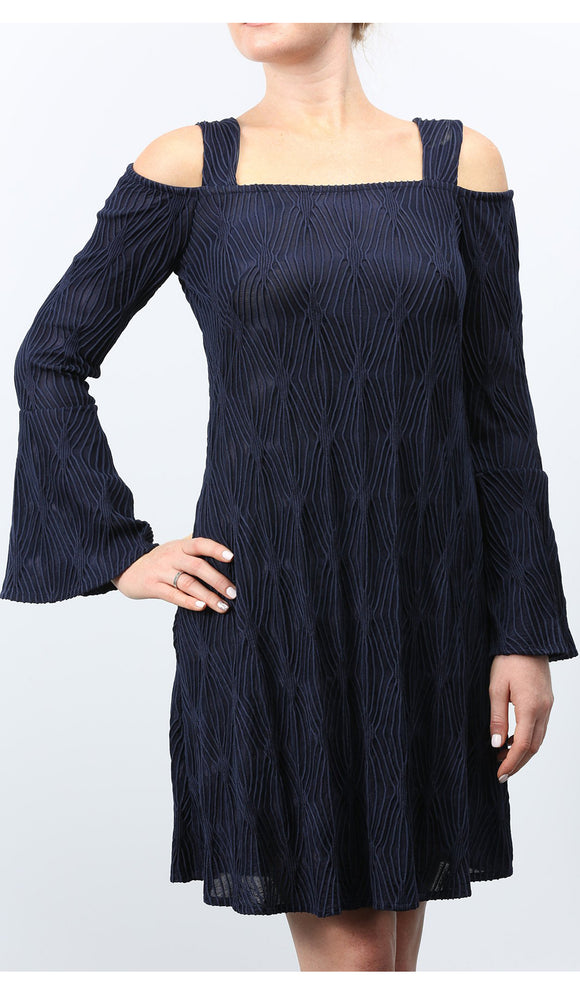 Orly Navy Cold Shoulder Bell-Sleeved Sheath Dress