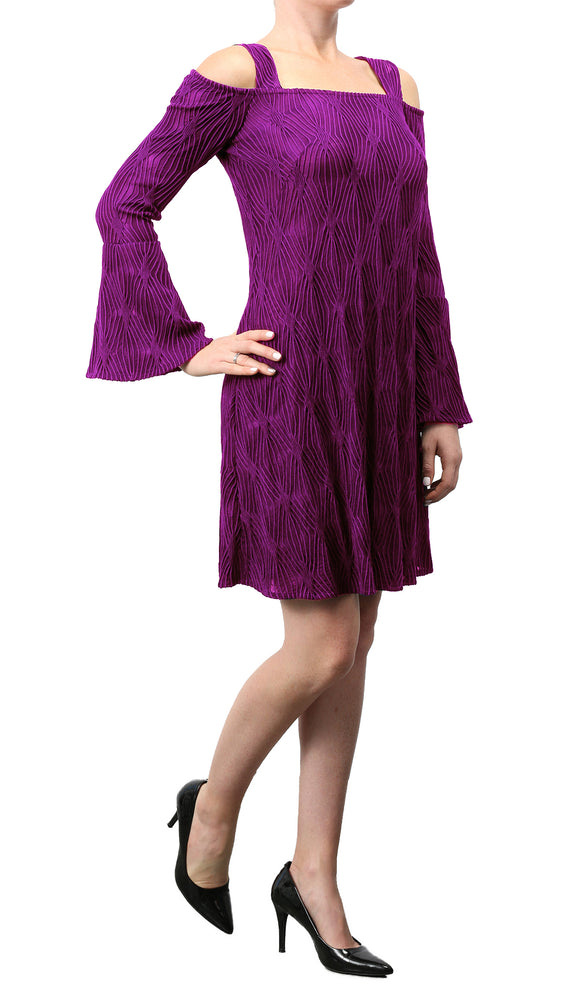 Orly Cold Shoulder Bell-Sleeved Sheath Dress Magenta