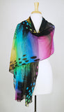 ORNA Long and Wide Print Mesh Shawl Stole Wrap