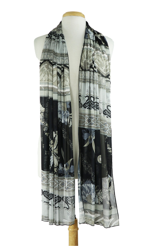 OSAKA Sheer Long & Wide Print Shawl