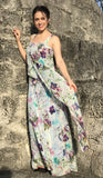 OBELIA Sleeveless Long Dress With Overlay Floral Print Tulle