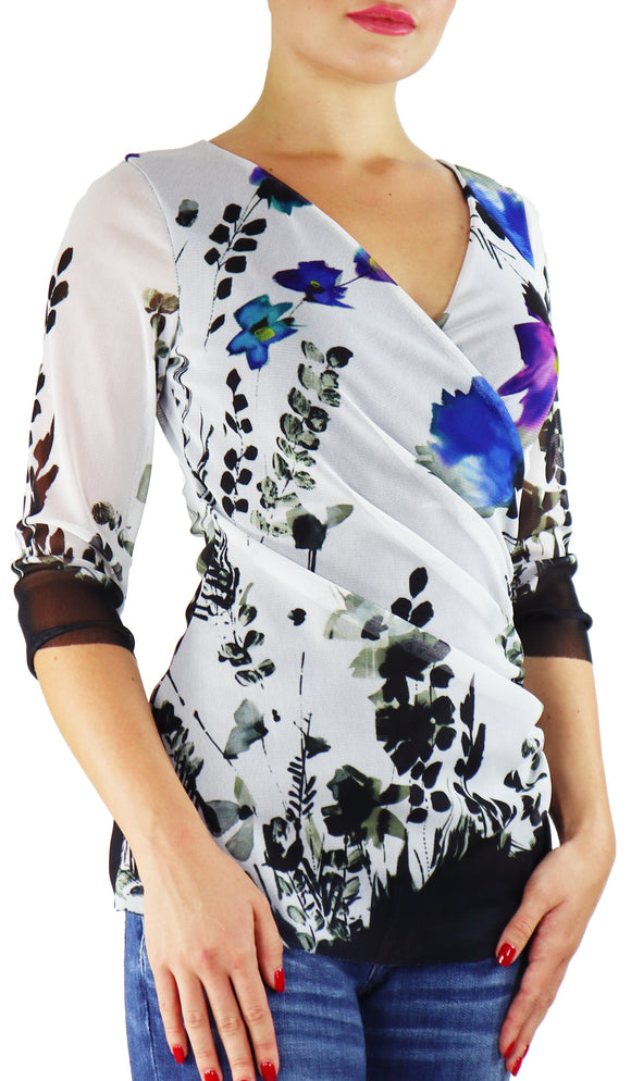 PANSY Abstract Print 3/4 Sleeves Surplice Crossover Top