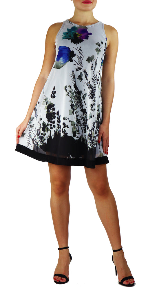 PANSY Sleeveless A-line Above Knee Length Print Mesh Dress