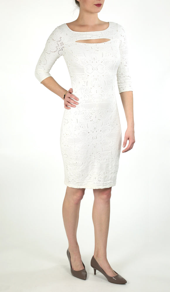 POEMA Eyelet Lace Fitted Dress White