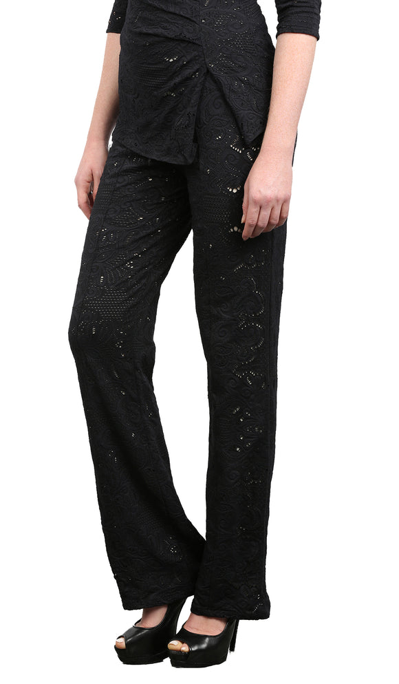 POEMA Eyelet Pants Black