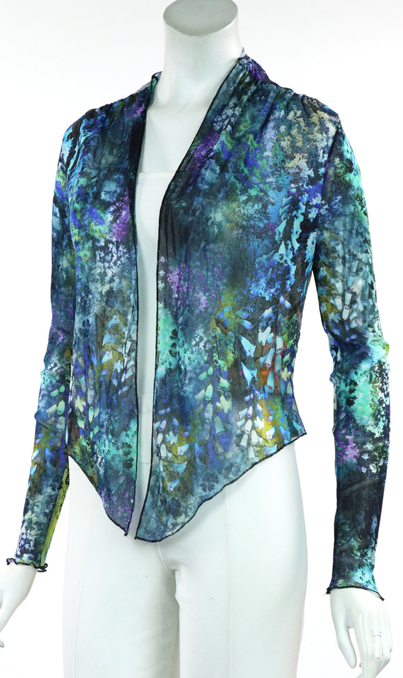 QUELLA B Sheer Long Sleeve Print Jacket
