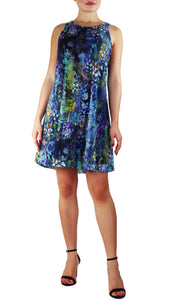 QUELLA B Sleeveless A-line Above Knee Length Print Mesh Dress