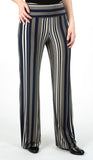 RYA Striped Metallic Flared Pants