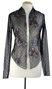 SANTANA Long Sleeve Embroidered Tulle Jacket