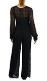 SARAH Long Ruffled Sleeves Crew Neckline Textured Lace Black