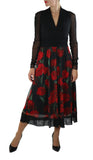 SCARLETT Long Sheer Sleeve Rose Petal Print Empire V Neck Dress