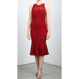 SHULA Fitted Dress with Ruffled Bottom Red