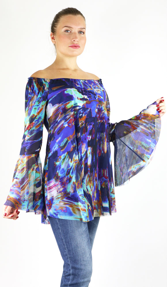 SIGGY Off-Shoulder Bell Sleeve Print Mesh Top