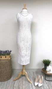SKYLAR Fitted Sheath Dress Off White