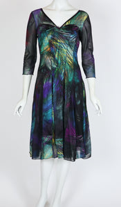 SONDRA Fit and Flare 3/4 Sleeves Paneled Abstract Print Dress