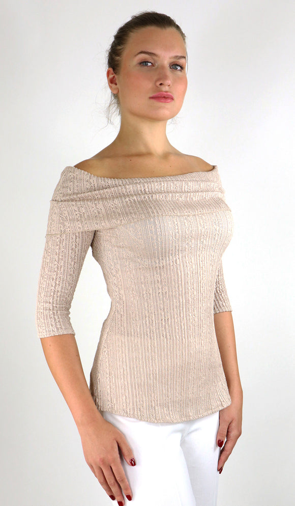 SOPHIA Off-Shoulder Draped Neckline Textured Lace Taupe