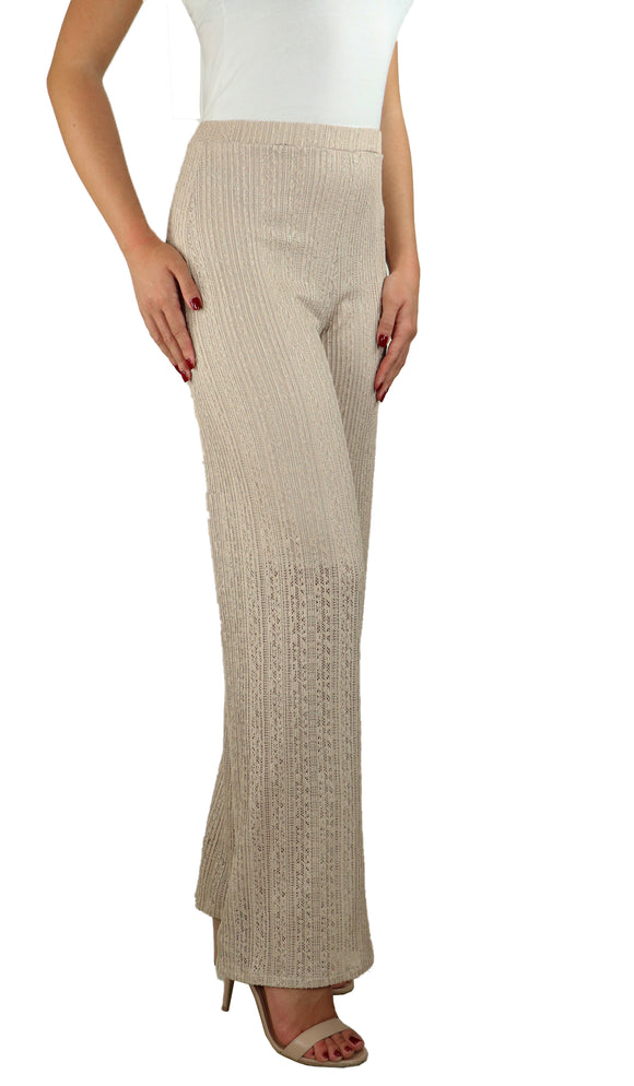 SOPHIA Textured Lace Lined Flared Pants Taupe