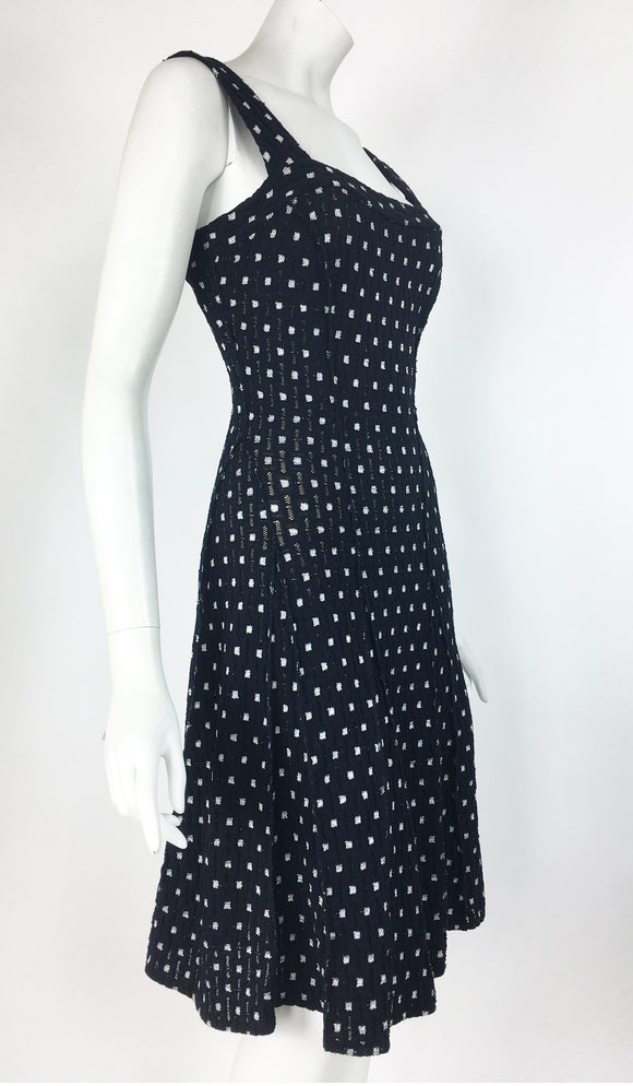 SHAKIRA Textured Black and White Sleeveless Fit N Flare Dress