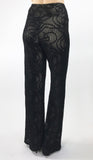SKYLAR Textured Burnout Black Lined Flared Pants
